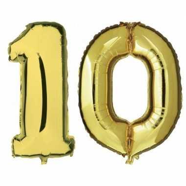 10 jaar leeftijd helium/folie ballonnen goud feestversiering prijs