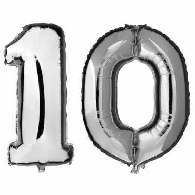 10 jaar leeftijd helium/folie ballonnen zilver feestversiering prijs