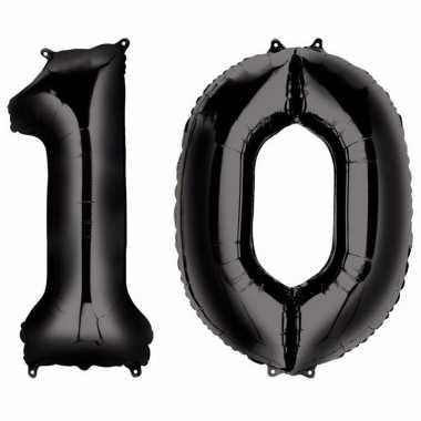 10 jaar leeftijd helium/folie ballonnen zwart feestversiering prijs