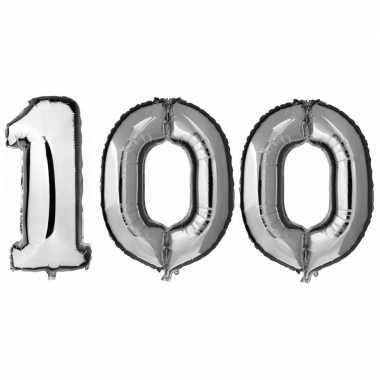 100 jaar leeftijd helium/folie ballonnen zilver feestversiering prijs