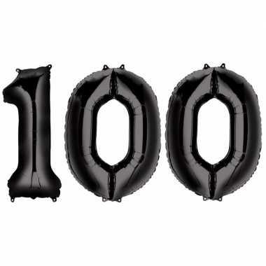 100 jaar leeftijd helium/folie ballonnen zwart feestversiering prijs