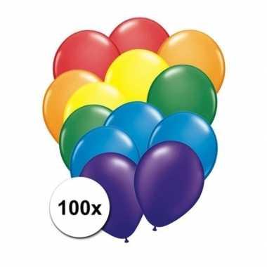 100 stuks regenboog ballonnen prijs