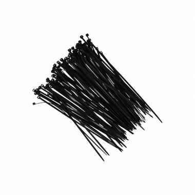100x kerstdecoratie ophang/bevestiging materiaal tiewraps zwart prijs
