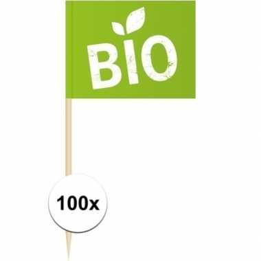 100x vlaggetjes prikkers bio 8 cm hout/papier prijs
