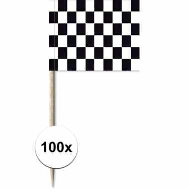 100x vlaggetjes prikkers race/finish 8 cm hout/papier prijs