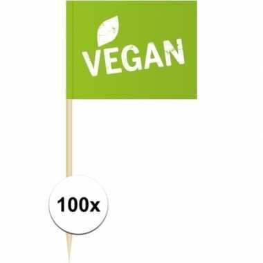100x vlaggetjes prikkers vegan 8 cm hout/papier prijs