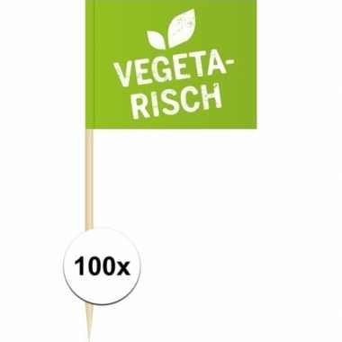 100x vlaggetjes prikkers vegetarisch 8 cm hout/papier prijs