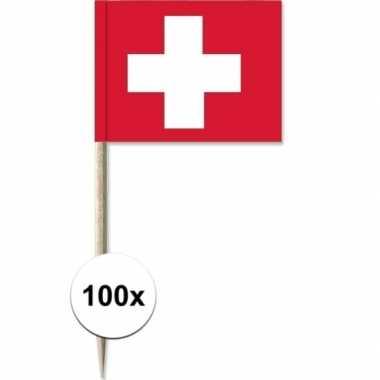 100x vlaggetjes prikkers zwitserland 8 cm hout/papier prijs