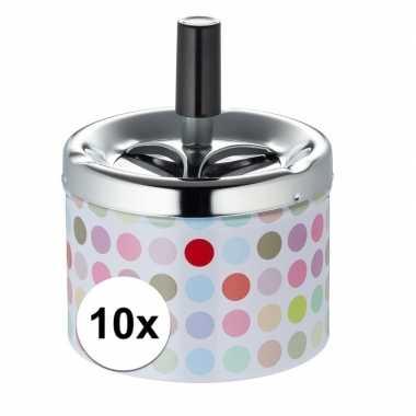 10x asbak met gekleurde stippen en draaimechanisme prijs