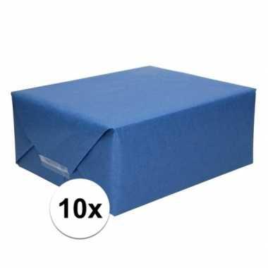 10x cadeaupapier donkerblauw 70 x 200 cm kraftpapier prijs