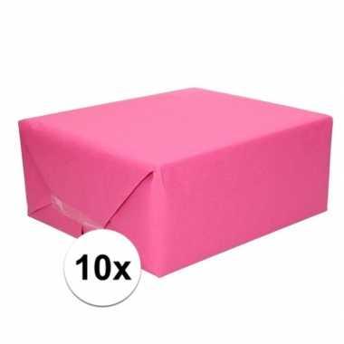 10x cadeaupapier fuchsia roze 70 x 200 cm kraftpapier prijs