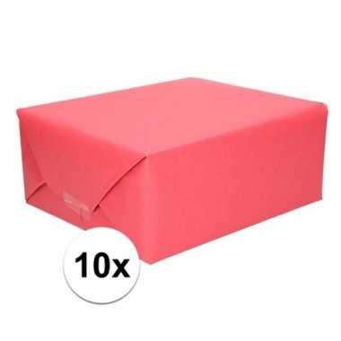 10x cadeaupapier rood 70 x 200 cm kraftpapier prijs