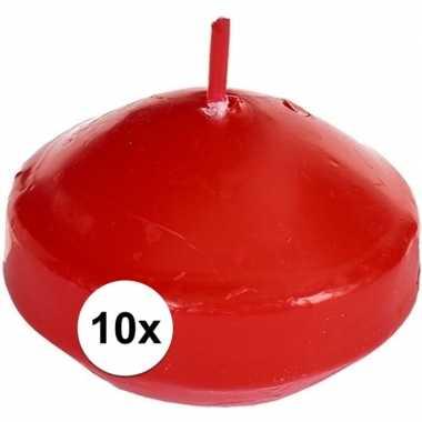 10x drijvende kaarsen rood 4,6 cm 4,5 branduren prijs