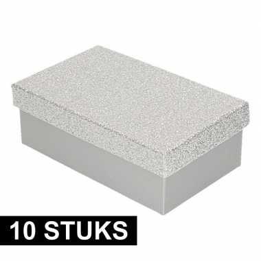 10x kado doosjes zilver glitter 15 cm rechthoek prijs