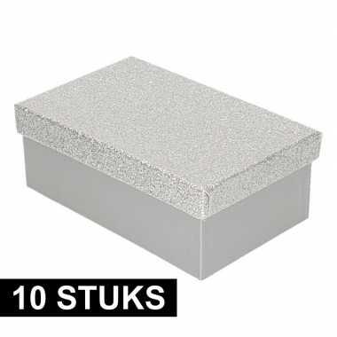 10x kado doosjes zilver glitter 17 cm rechthoek prijs