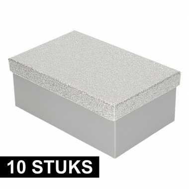 10x kado doosjes zilver glitter 19 cm rechthoek prijs