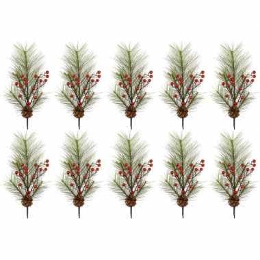 10x kersttakken met rode besjes 60 cm prijs