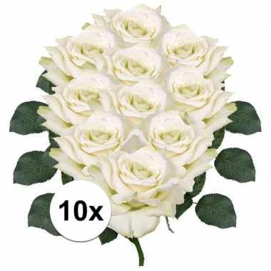 10x kunstbloemen witte roos 31 cm prijs