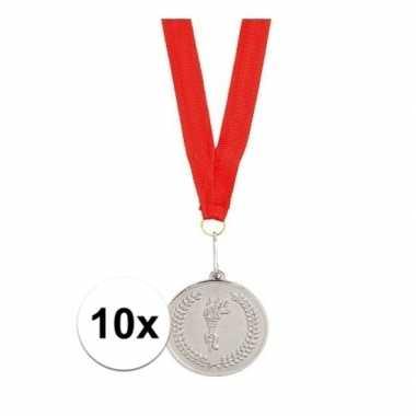 10x medailles zilver aan rood lint prijs