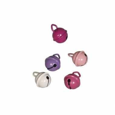 10x metalen klokjes roze mix 15 mm prijs