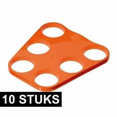 10x oranje plastic bier tray voor 6 glazen prijs