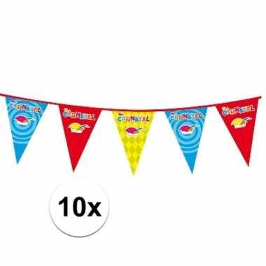 10x plastic carnaval vlaggenlijnen prijs