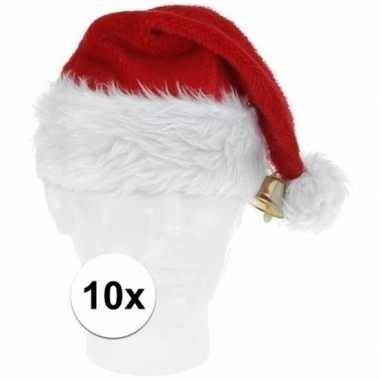10x pluche kerstmutsen met bel deluxe prijs