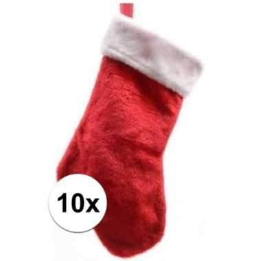 10x pluche kerstsokken 40 cm rood/wit prijs