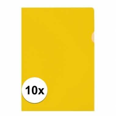 10x tekeningen opbergmap a4 geel prijs
