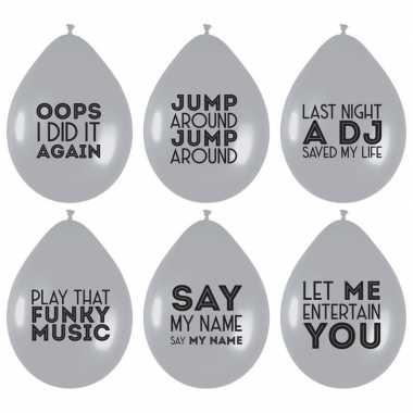 12 stuks zilveren ballonnen met liedjes spreuken feestdecoratie prijs
