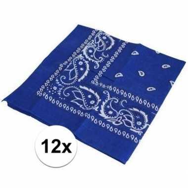 12x blauwe boeren zakdoeken prijs