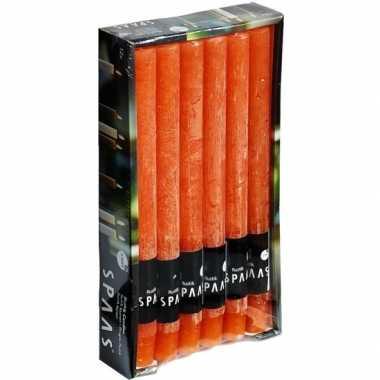 12x halloween/horror lange rustieke kaarsen oranje 25 cm 10 branduren