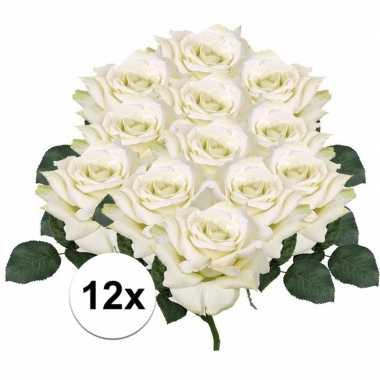 12x kunstbloemen witte roos 31 cm prijs