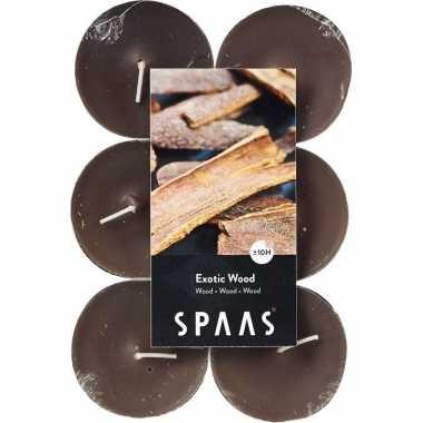 12x maxi theelichten hout geurkaarsen exotic wood 10 branduren prijs