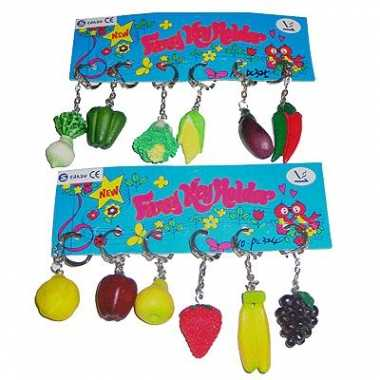 12x sleutelhangers met groente of fruit prijs