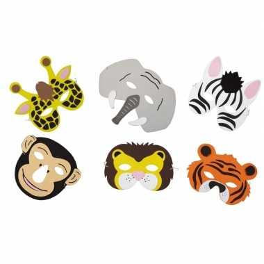 12x verkleed/feest safaridieren maskers foam voor jongens/meisjes/kin