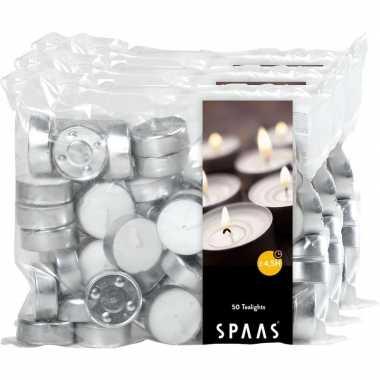 150x theelichten wit 4,5 branduren in zak prijs