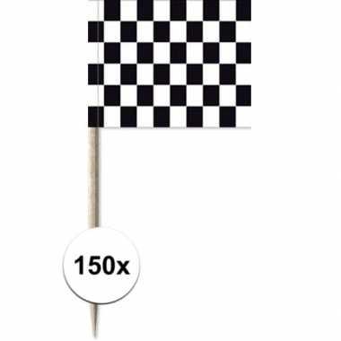 150x vlaggetjes prikkers race/finish 8 cm hout/papier prijs