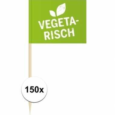 150x vlaggetjes prikkers vegetarisch 8 cm hout/papier prijs