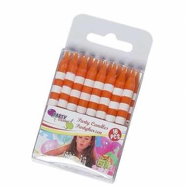 16 verjaardagskaarsjes oranje/wit prijs