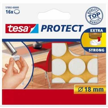 16x tesa viltglijders/meubelbeschermers rond wit zelfklevend 1,8 cm p