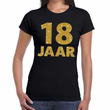18 jaar fun t-shirt met gouden tekst zwart voor dames prijs