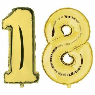 18 jaar leeftijd helium/folie ballonnen goud feestversiering prijs