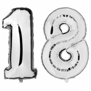18 jaar leeftijd helium/folie ballonnen zilver feestversiering prijs