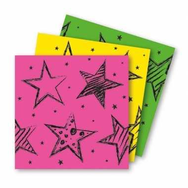 18x felgekleurde feest servetten 33 x 33 cm kinderverjaardag prijs
