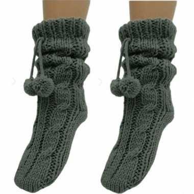 2 paar dames sokken voor in huis grijs prijs