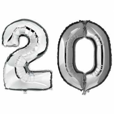 20 jaar leeftijd helium/folie ballonnen zilver feestversiering prijs