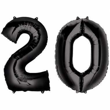 20 jaar leeftijd helium/folie ballonnen zwart feestversiering prijs