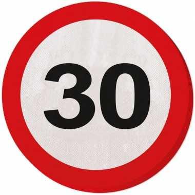 20x dertig/30 jaar feest servetten verkeersbord 33 cm rond verjaardag