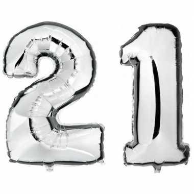 21 jaar leeftijd helium/folie ballonnen zilver feestversiering prijs